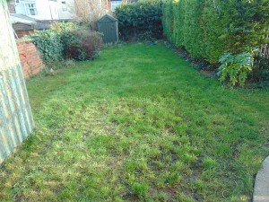 Large Rear Garden laid mainly to lawn, two sheds and ample outside lighting