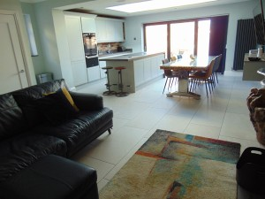 Fabulous Open Plan Family Room/Kitchen With Impressive Glass Roof